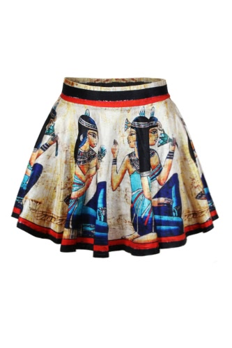Roman Women Print High Waist Pleated Skirt