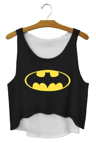 Casual Sleeveless Batman Print Black Crop Top