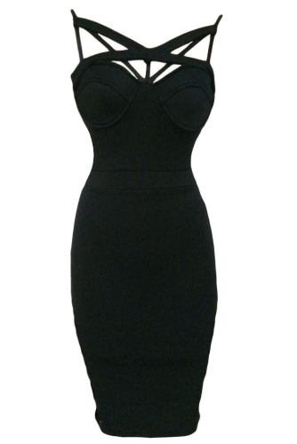 Sweetheart Sponge Cups Hollow Out Bust Bodycon Dress