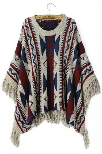 Vintage Geometric Print Fringed Poncho Sweater
