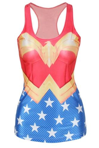 Wonder Woman Print Scoop Neck Tank Top