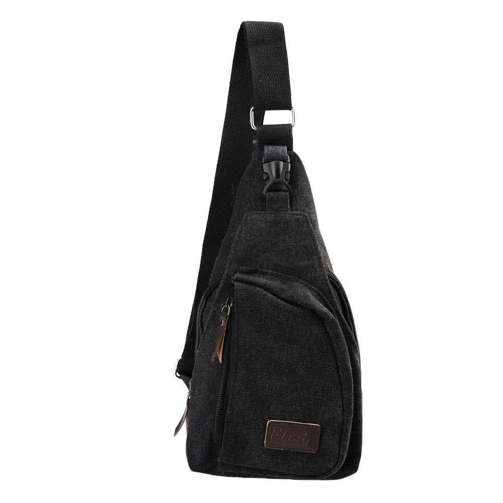 black Vintage Men's Canvas Military Zipper Pocket Shoulder Small ...