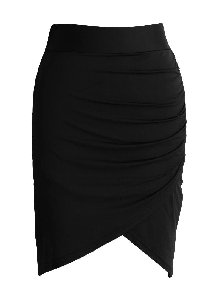 black Stretch Draped High Waist Asymmetric Ruched Sexy Mini Pencil ...