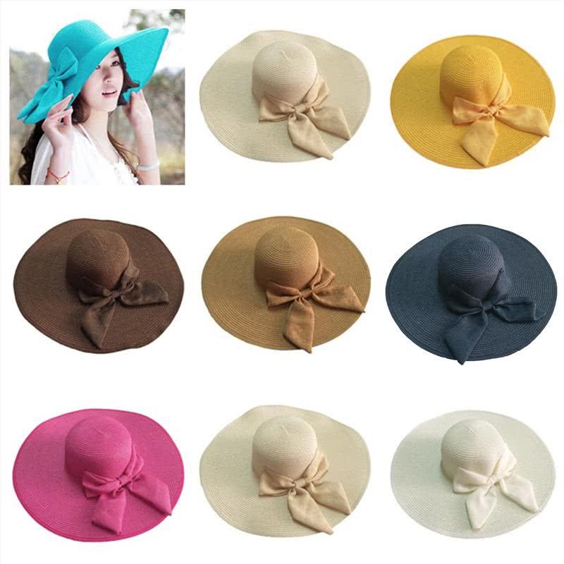beige women straw floppy hat wide brim bow foldable sun beac