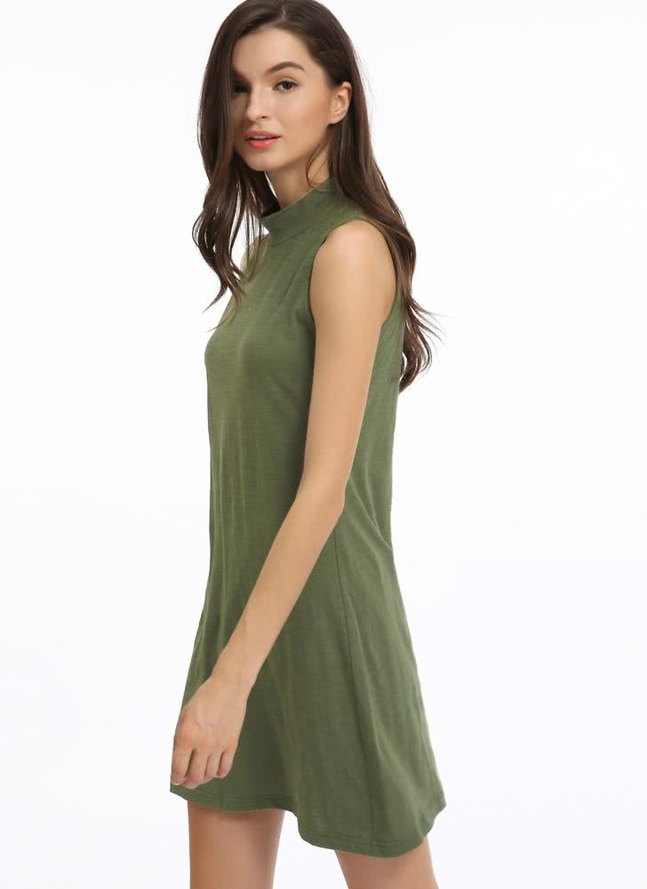 Summer Solid Pockets Dresses Plus Size Cocoon Sleeveless: Green L Trendy Solid Color Round Neck Short Summer Dress