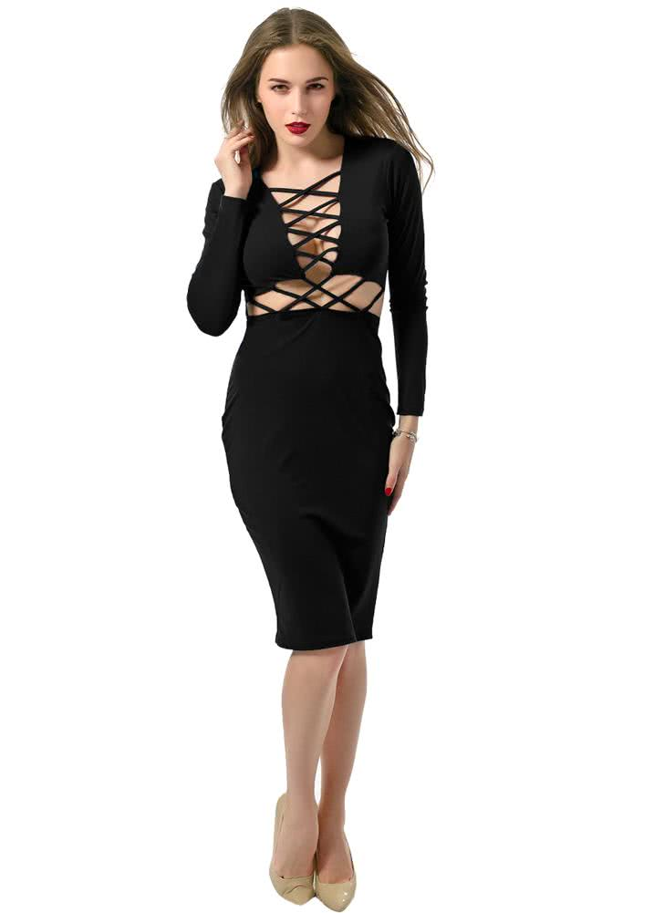black l Sexy Criss-Cross Long Sleeve Bandage Dress - Chicuu.com
