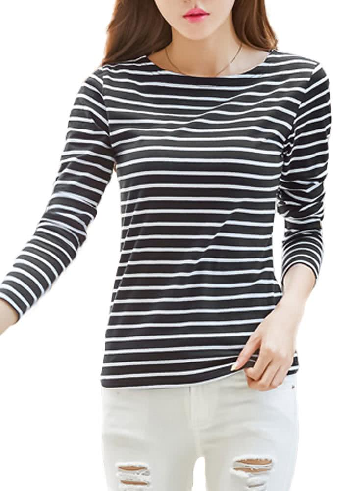 Plus Size Striped Long Sleeves O Neck Vintage Casual Women ...