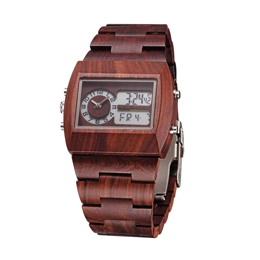 anself hommes dual time environmental high quality analog digital time display montre