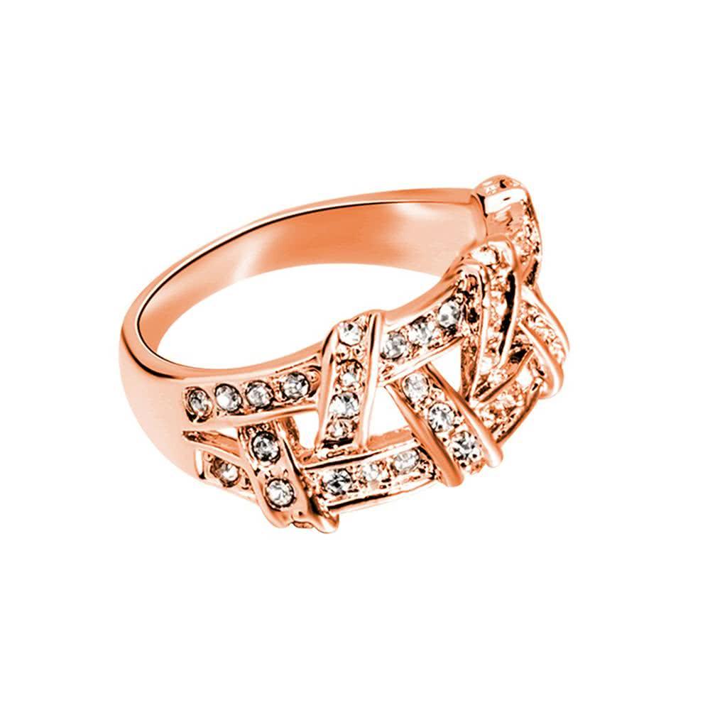 roxi manera caliente de la nueva joyera plate el anillo de la armadura de oro zircon crystal rhinestone para el regalo de boda de las mujeres