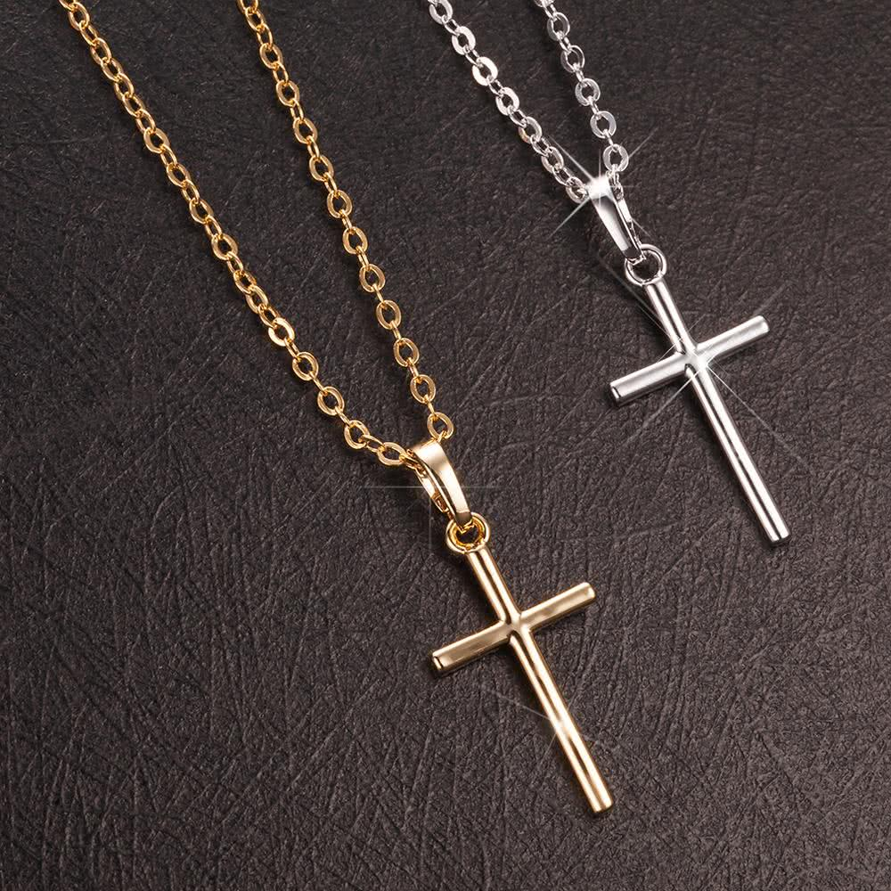 gold simple cross pendant necklace chicuu