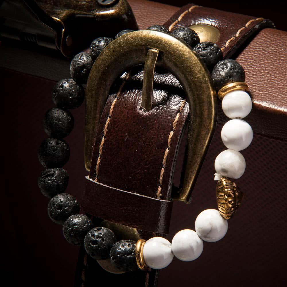 la nueva joyera de moda nico de mujeres de los hombres de piedra natural de los granos de la pulsera del encanto del brazalete de len para el partido