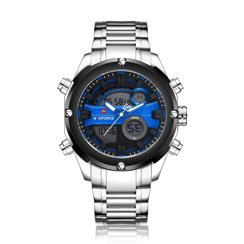 silver blue naviforce dual time water resistant durable