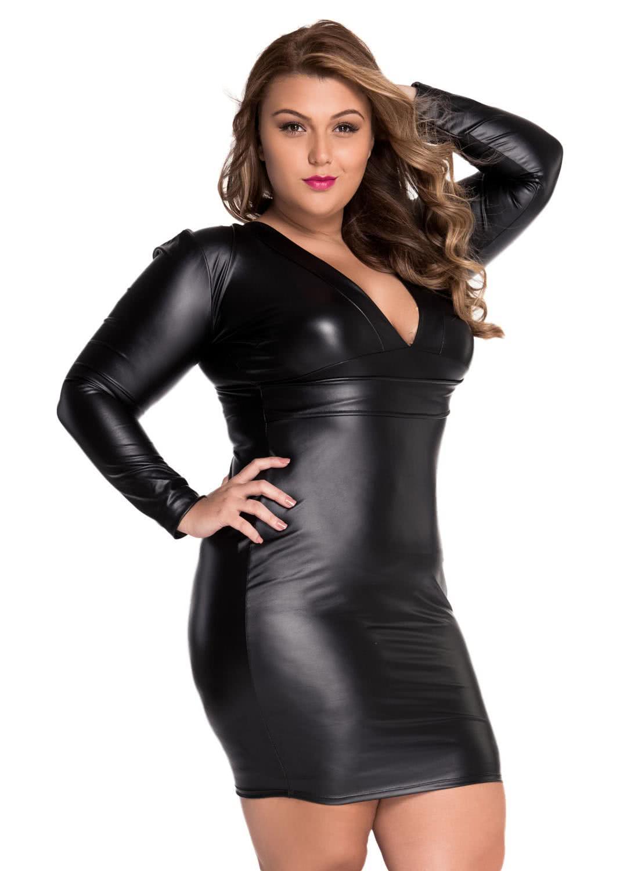 black l Black Plunging V-neck Long-sleeve Leather Dress ...
