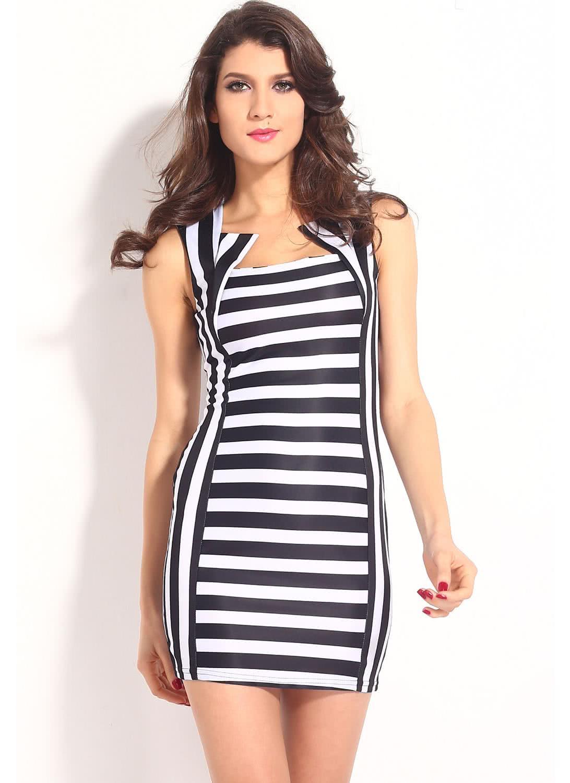 Black bodycon dress with white stripe hills