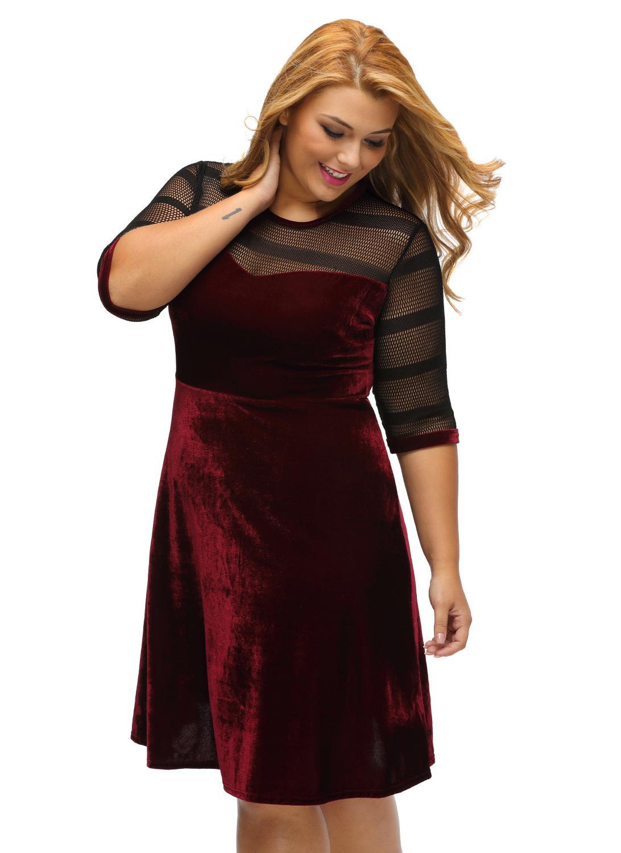 burgandy xl Plus Size Mesh Insert Velvet Half Sleeve Swing Dress ...