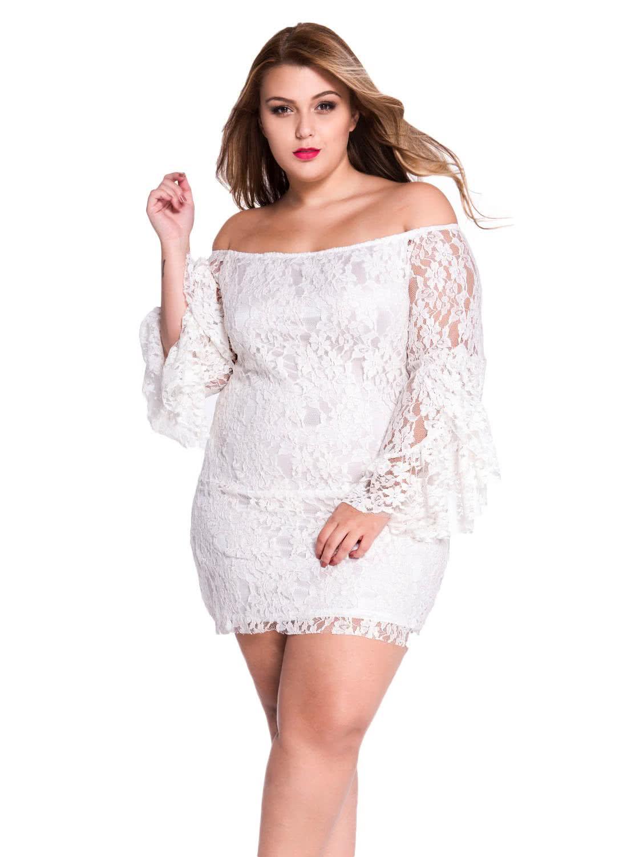 Plus size white dress - Plus Size Black Lace Off The Shoulder Mini Dress