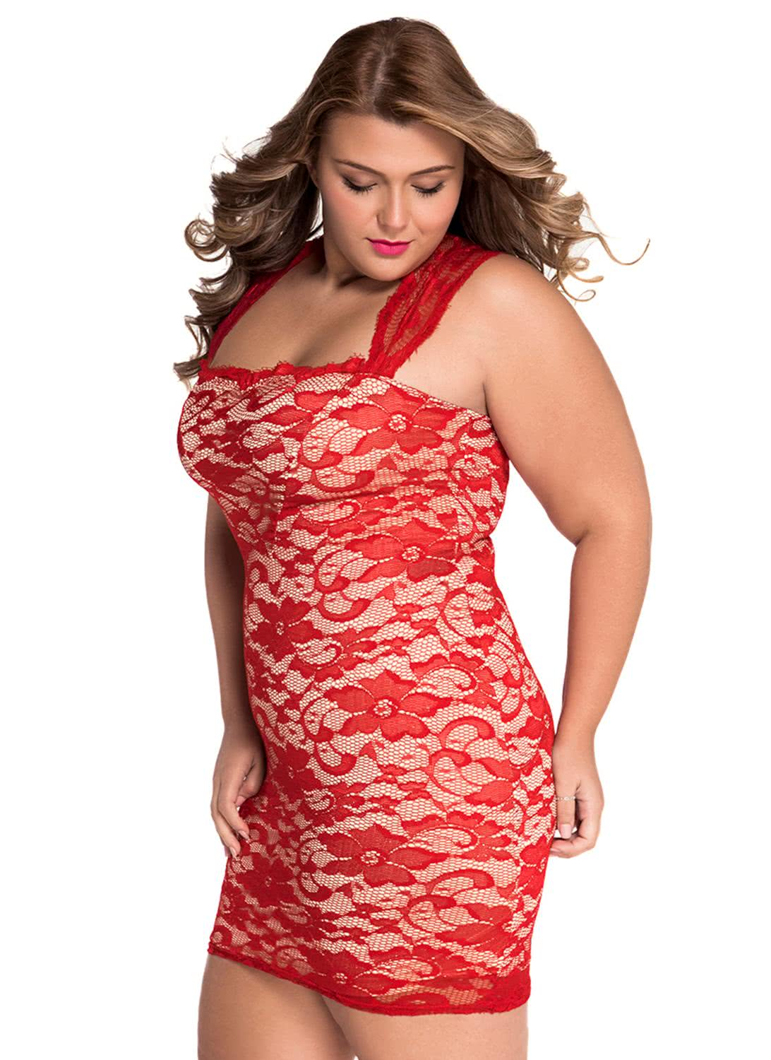 red xl Red Lace Nude Illusion Plus Size Bodycon Dress - Chicuu
