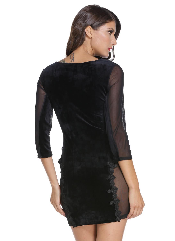 Black dress velvet - Sheer Mesh Splice Black Lace Velvet Dress