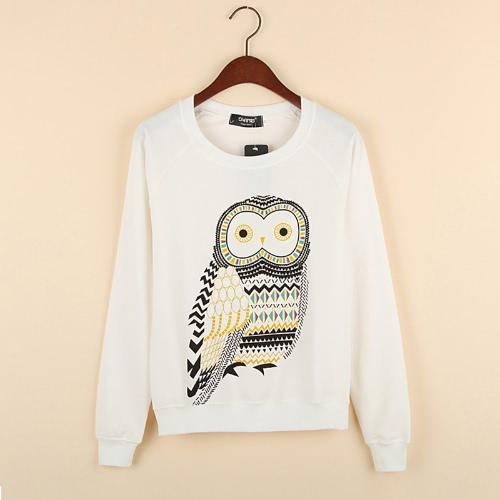 Women T-shirt Owl Print O-Neck Long Sleeve Tops