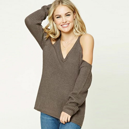 Loose Knitted Sweater Cold Shoulder V-Neck Long Sleeve   Women's  Pullover