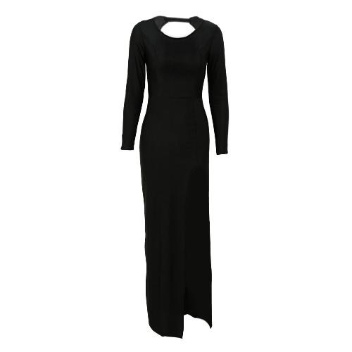 Vintage Long Sleeve Black Backless Split Maxi Dress