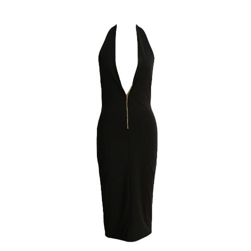 Front Zipper Deep V-Neck Backless Bodyocn Dress
