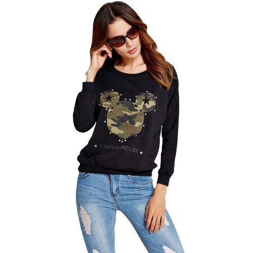 Women Sweatshirt Camouflage Pattern Stars Appliques Letter Rhinestone Casual Pullover Top Black