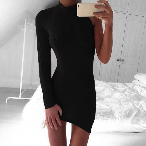 Pencil Dress One Sleeve Asymmetric Turtle Neck Bodycon Mini Clubwear