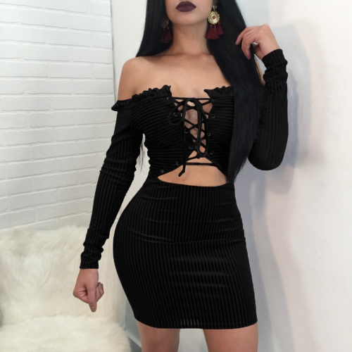 Sexy Women Velvet Ribbed Dress Lace Up Front Off the Shoulder Long Sleeve Hollow Out Slim Bodycon Bandage Dress