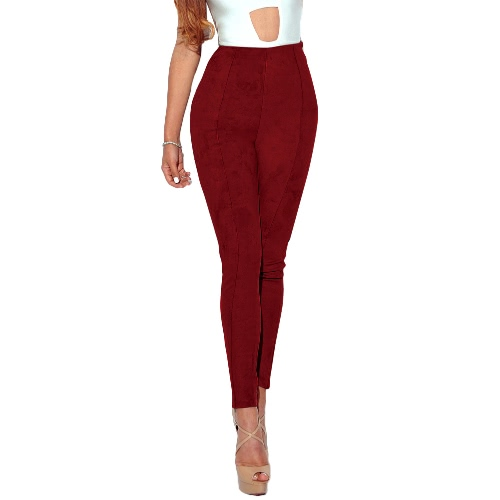 Faux Suede Leggings Solid High Waist Skinny Tights Slim Bodycon Pants