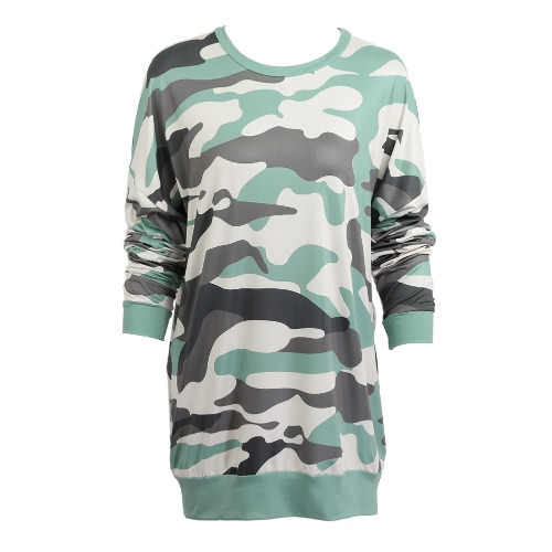 Women Camouflage Print Dropped Shoulder O Neck Loose Straight Mini Dress
