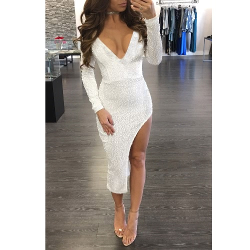 Sequin Plunge V Neck Long Sleeve Split Party Dress