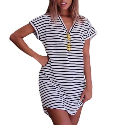 New Sexy Women Striped V-Neck Short Sleeves Casual Mini Dress