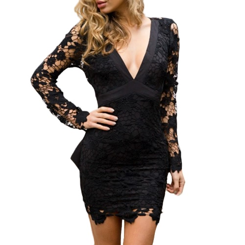 Sexy Women Lace Hollow Out Bow V-Neck Long Sleeves Elegant Mini Dress