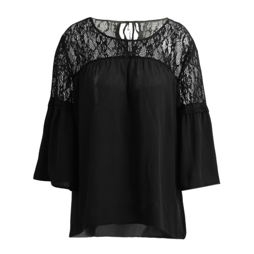 Lace Splicing Shirt Casual...