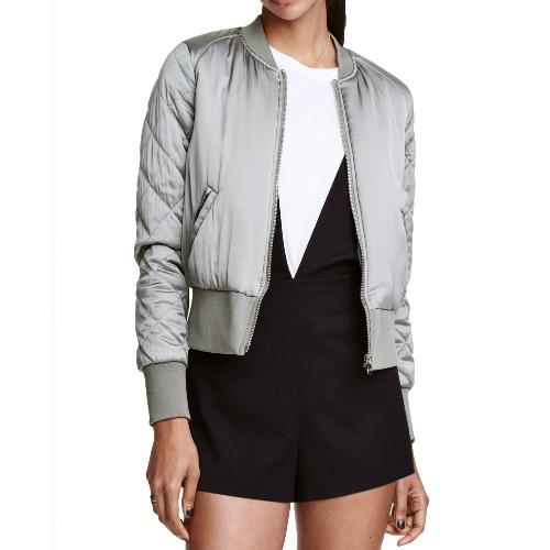 Fashion Satin Bomber Jacket Quilted Long Sleeve Cotton  Women's Jacket