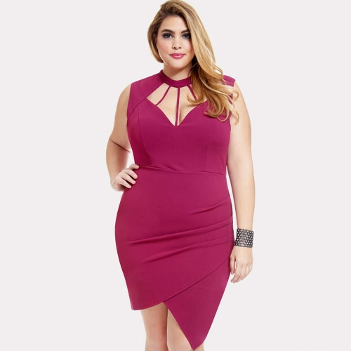 Sexy Cut Out Sleeveless Backless Zip Back Bodycon  Women's  Plus Size Dress
