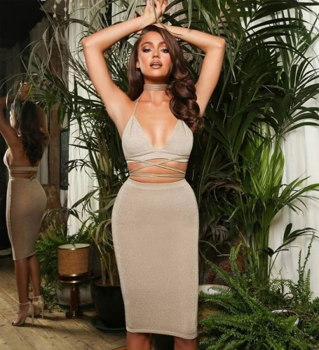 Sexy Women Cami Bodycon Two Piece Set