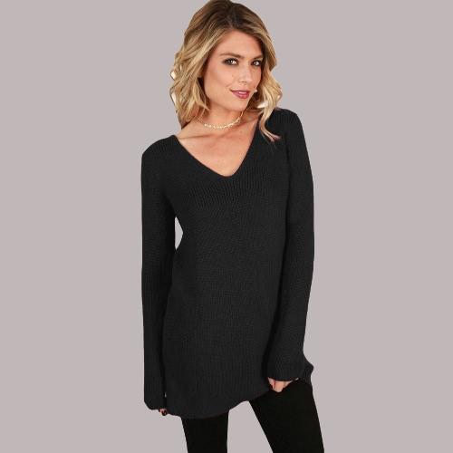 Lace Up V Neck Ribbed Long Sleeve Sweater