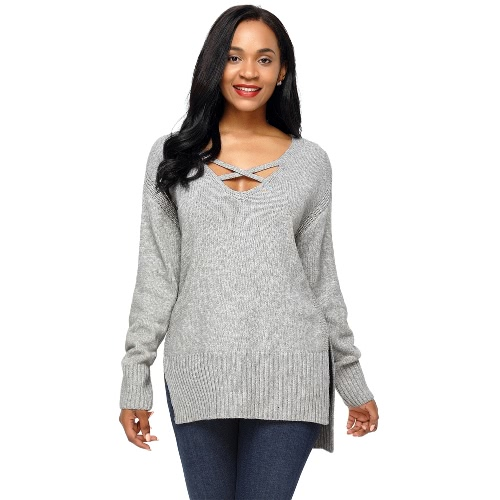 Deep V Neck Side Split High Low Sweater