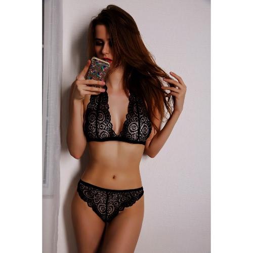 Sexy  Lingerie Briefs Set Erotic See Through Women's Bra