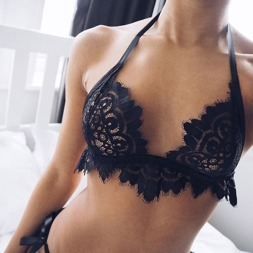 Sexy Floral Lace Wireless Trim Hollow Out Women's Bralette