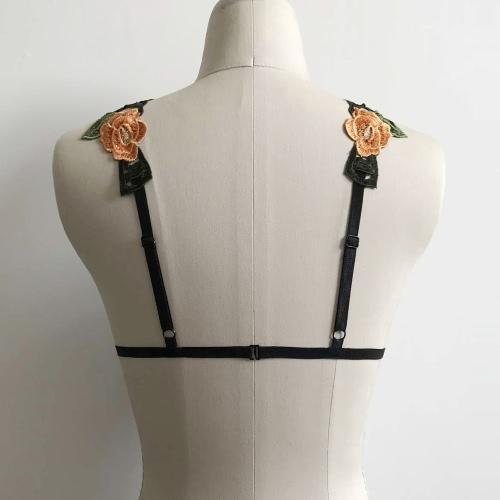 Sexy Women Lingerie Bra Floral Embroidery Bondage Body Cage Elastic Strap Bikini Erotic Cupless Bralette Top Black