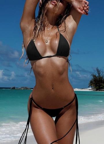 Sexy Women Bikini Set Solid Bandage Strappy Halter Top Thong Two-Piece Swimwear Beach Swimsuit Bathing Suit