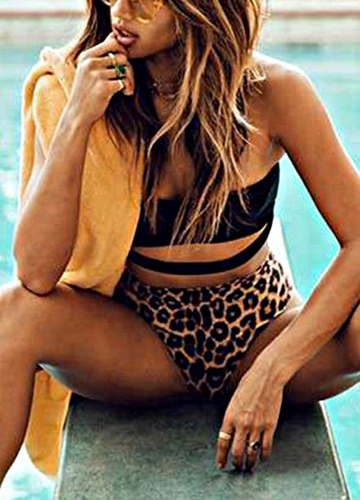 Sexy Women Leopard Print Halter Cutout High Waist Bikini Set