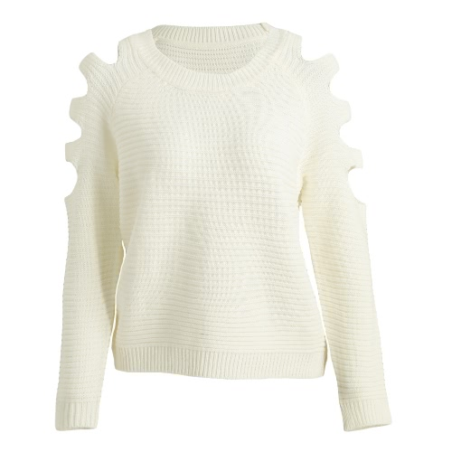 Cut Out Round Neck Long Sleeves Sweater