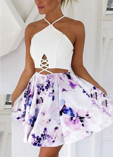 Sexy Women Halter Lace Up Floral  Dress