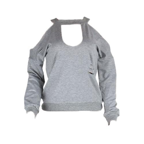 Women Ripped Holes Hoodie Sweatershirt Long Sleeves Jumper Sweater