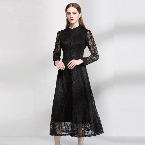 Sexy  Hollow Out Long Sleeve Button Elegant Women's Lace Dress