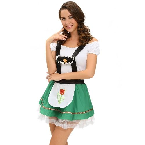 Женщин сексуальный костюм Октоберфест Пиво Maid Cosplay Halloween Party Bar Wench Костюм Костюмированный Зеленый
